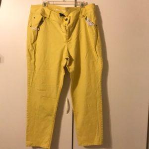 Lane Bryant yellow skinny jeans Sz 22
